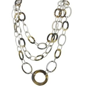 Tortoise Shell & Silver Loops Necklace, NWT